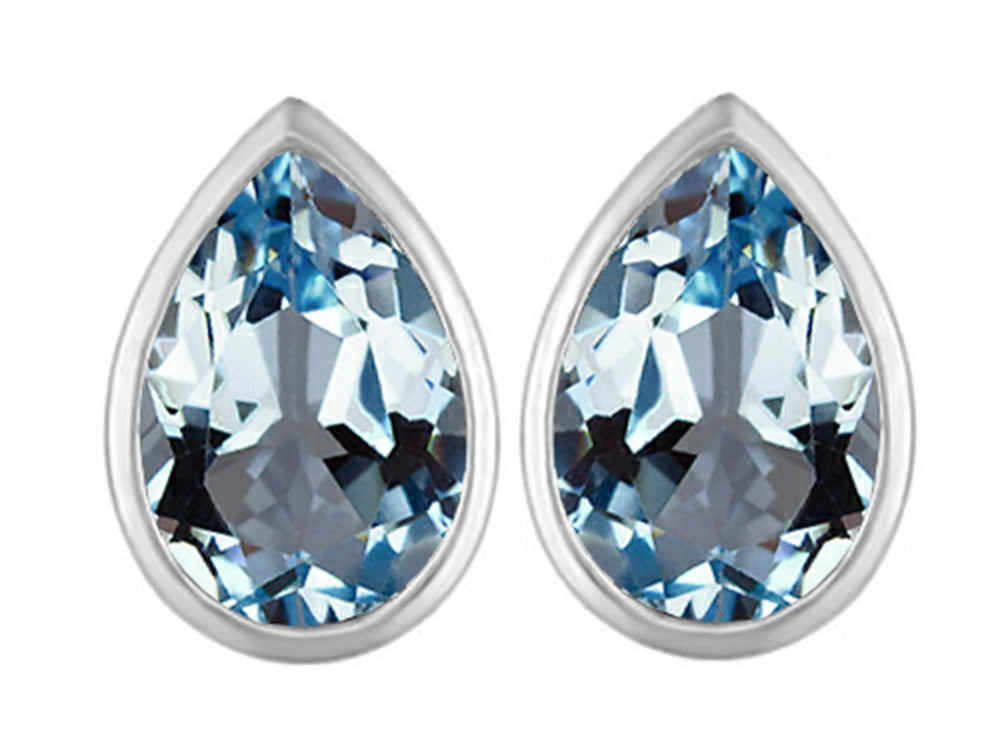 Star K 9x6mm Pear Shape Simulated Aquamarine Earrings Studs Sterling Silver