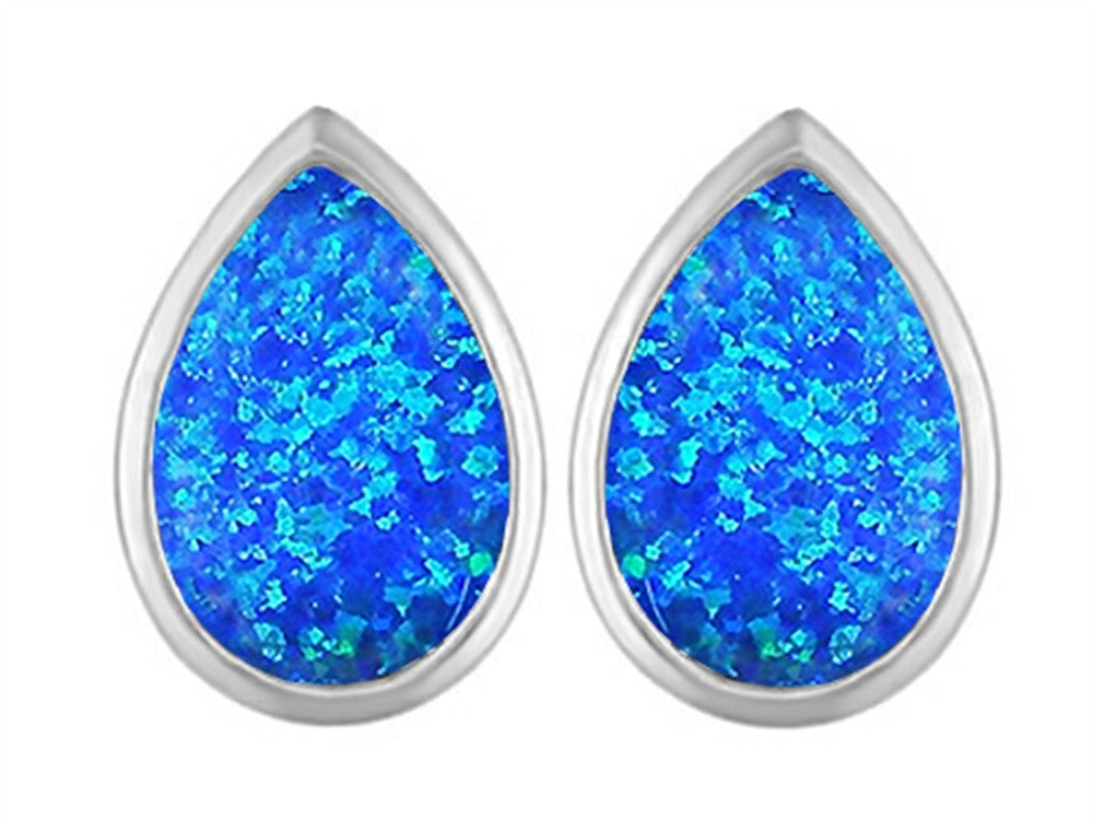 Star K 9x6mm Pear Shape Blue Created Opal Earrings Studs Sterling Silver