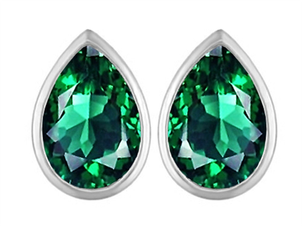 Star K 9x6mm Pear Shape Simulated Emerald Earrings Studs Sterling Silver