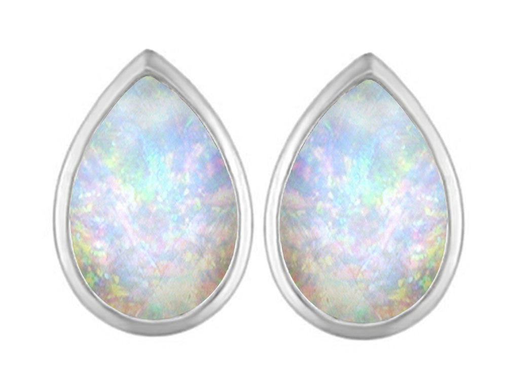 Star K 9x6mm Pear Shape Created Opal Earrings Studs Sterling Silver