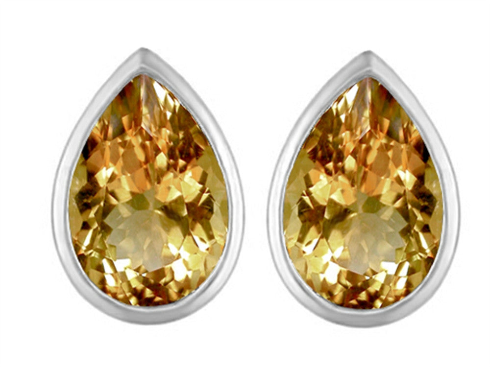 Star K 9x6mm Pear Shape Simulated Imperial Yellow Topaz Earrings Studs Sterling Silver