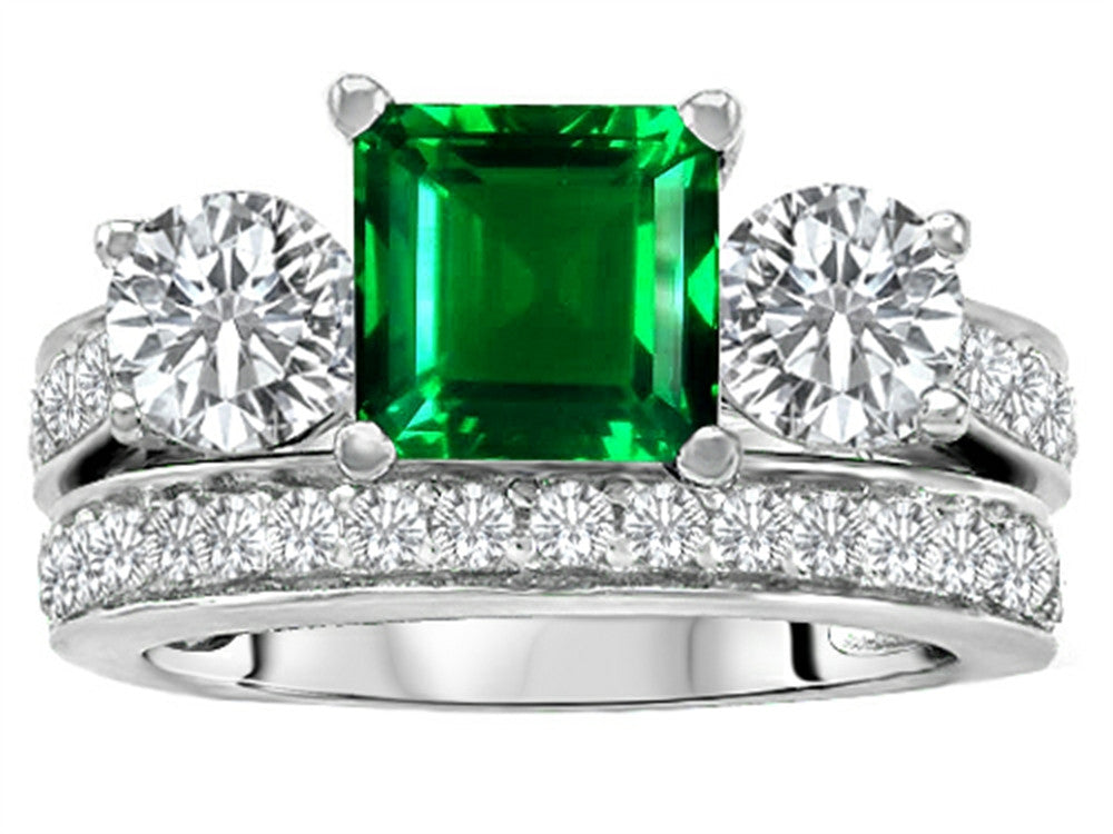 Star K 7mm Square Cut Simulated Emerald Wedding Set Sterling Silver Size 8