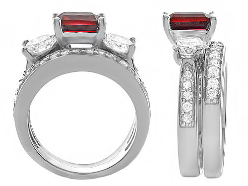 Star K 7mm Square Cut Created Ruby Wedding Set Sterling Silver Size 8