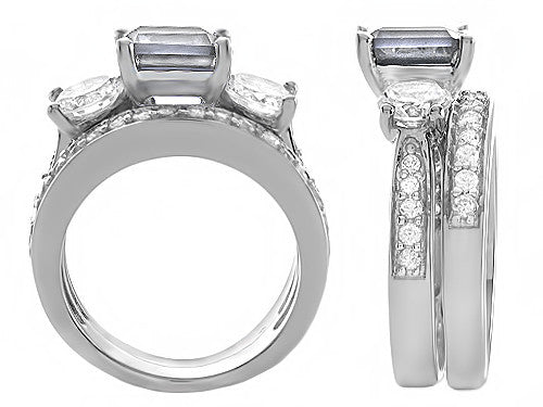 Star K 7mm Square Cut Genuine White Topaz Wedding Set Sterling Silver Size 8