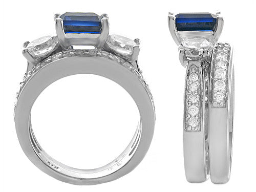 Star K 7mm Square Cut Created Sapphire Wedding Set Sterling Silver Size 8