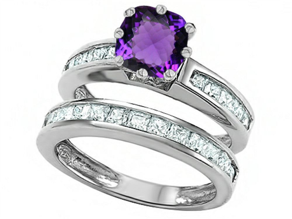 Star K Cushion-Cut 7mm Genuine Amethyst Wedding Set Sterling Silver Size 8