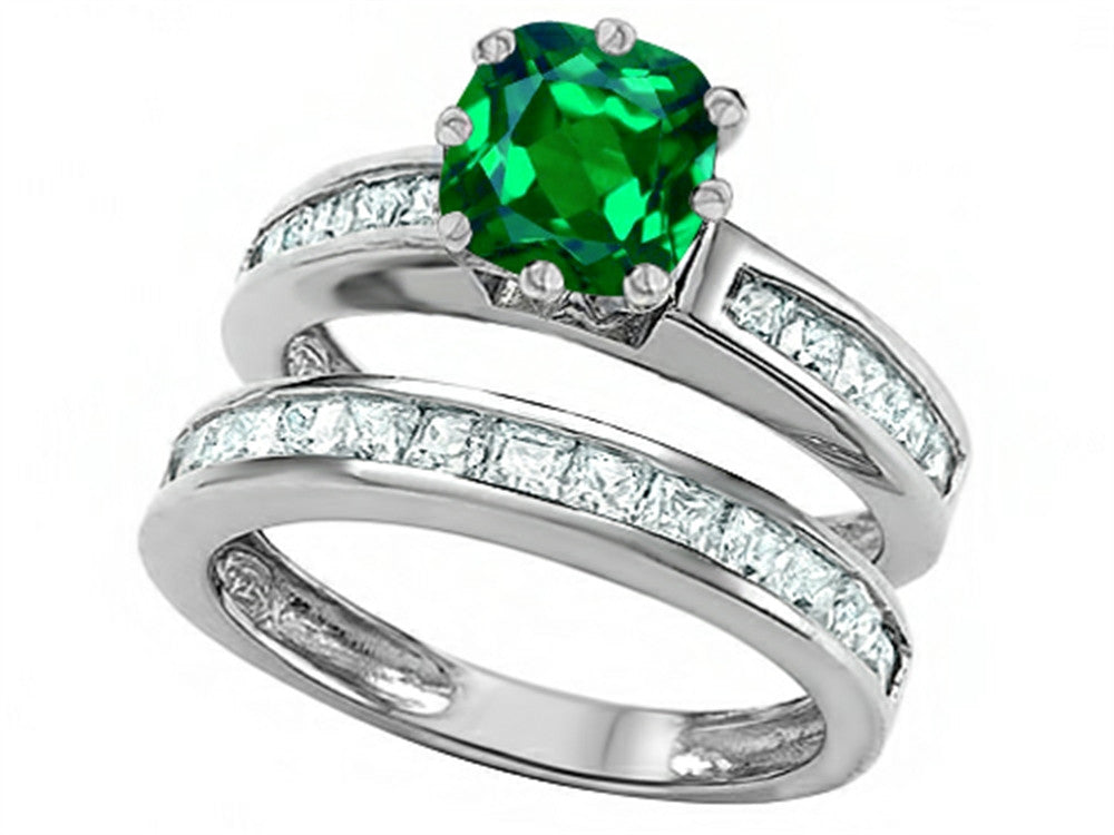Star K Cushion-Cut 7mm Simulated Emerald Wedding Set Sterling Silver Size 8