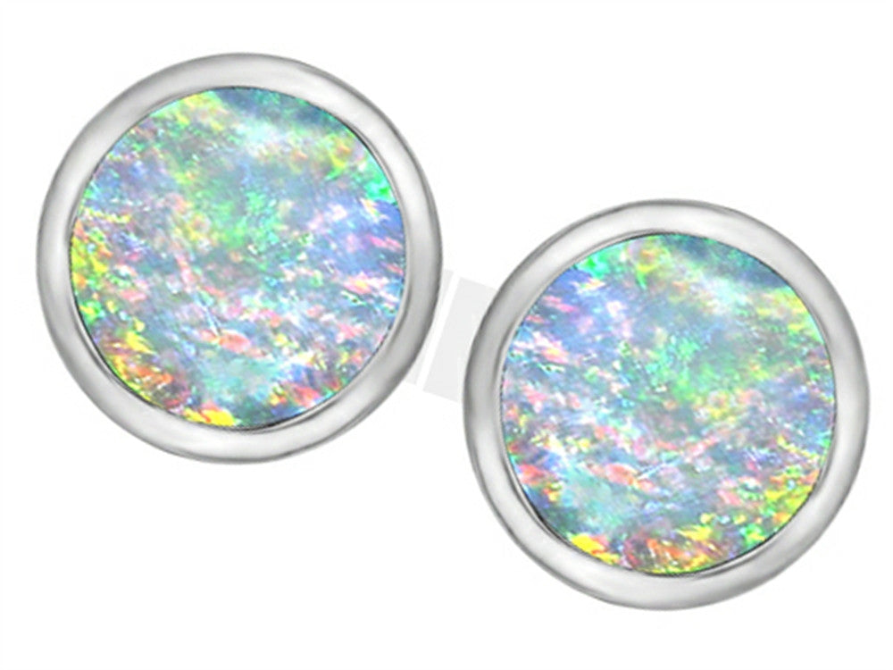 Star K 7mm Round Simulated Opal Earrings Studs Sterling Silver