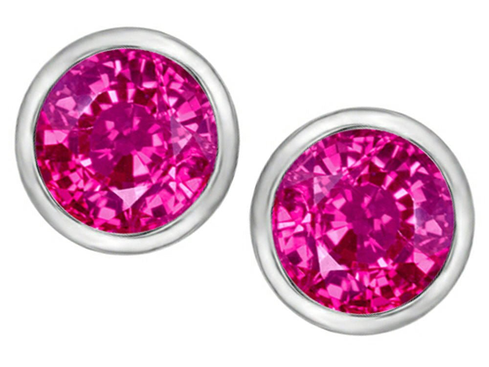 Star K 7mm Round Created Pink Sapphire Earrings Studs Sterling Silver