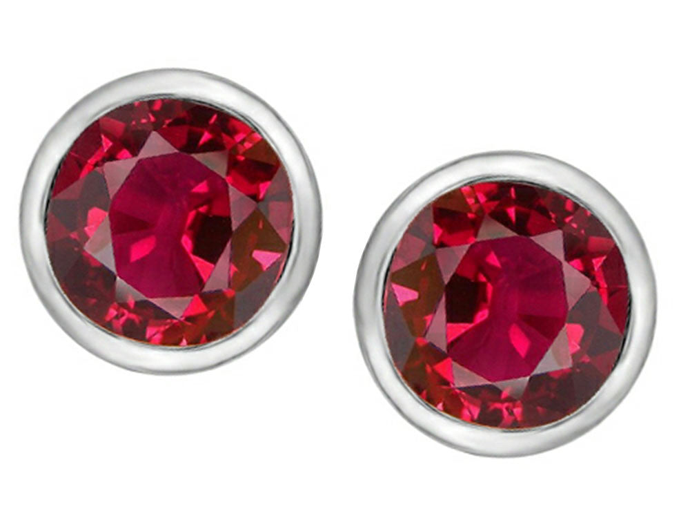 Star K 7mm Round Created Ruby Earrings Studs Sterling Silver
