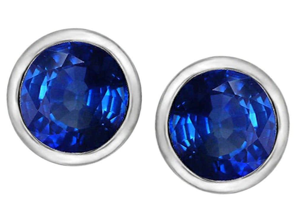 Star K 7mm Round Created Sapphire Earrings Studs Sterling Silver