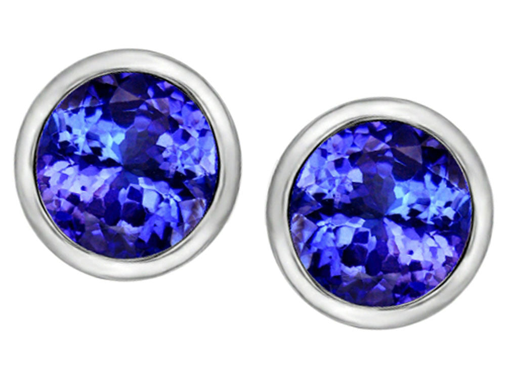Star K 7mm Round Simulated Tanzanite Earrings Studs Sterling Silver