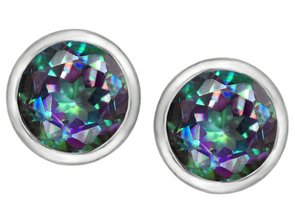 Star K 7mm Round Rainbow Mystic Topaz Earrings Studs Sterling Silver