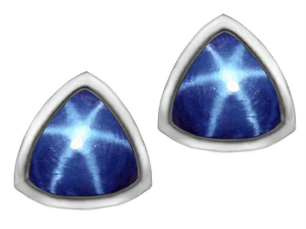 Star K 7mm Trillion Cut Created Star Sapphire Earrings Studs Sterling Silver