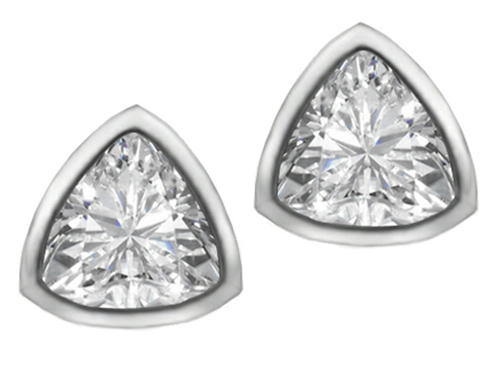Star K 7mm Trillion Cut Genuine White Topaz Earrings Studs Sterling Silver