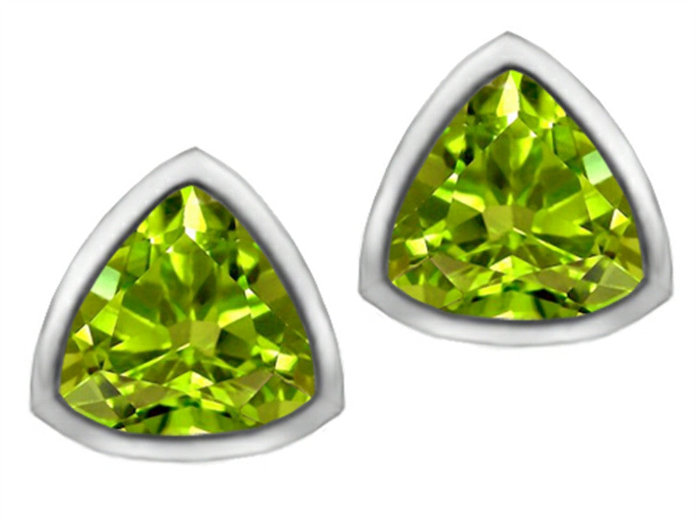 Star K 7mm Trillion Cut Simulated Peridot Earrings Studs Sterling Silver