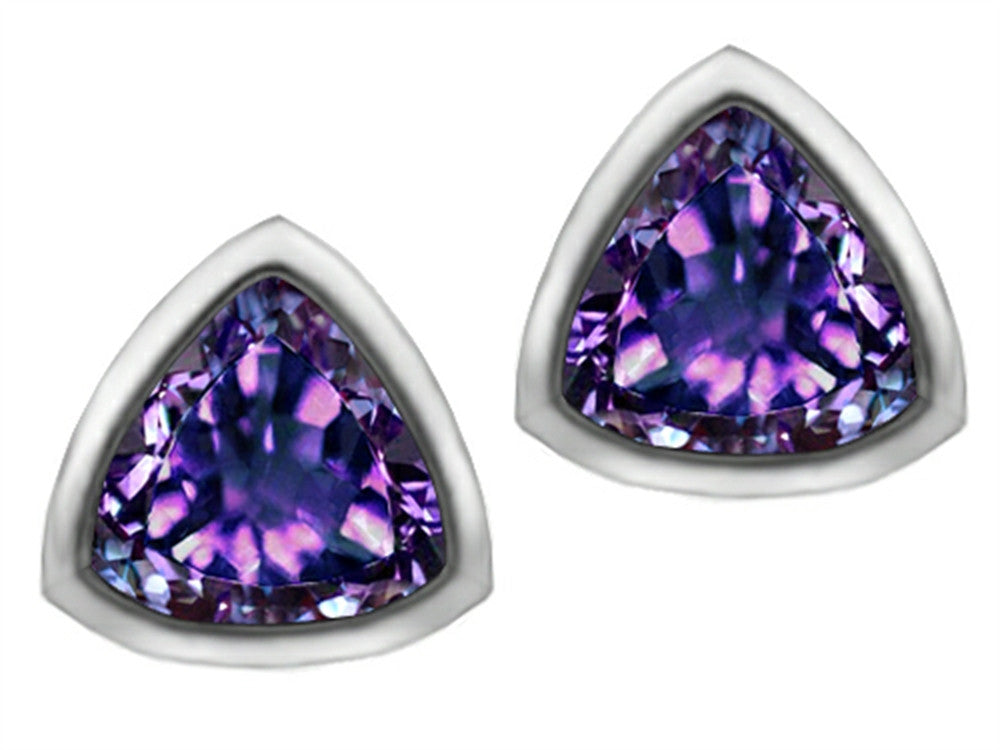 Star K 7mm Trillion Cut Simulated Alexandrite Earrings Studs Sterling Silver