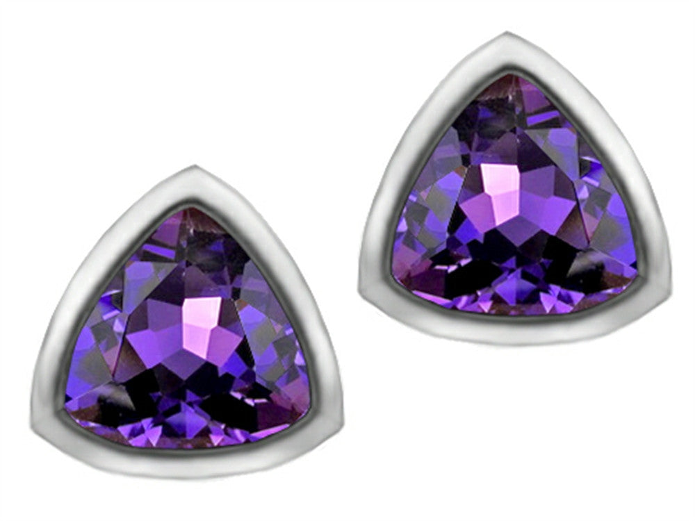 Star K 7mm Trillion Cut Simulated Amethyst Earrings Studs Sterling Silver