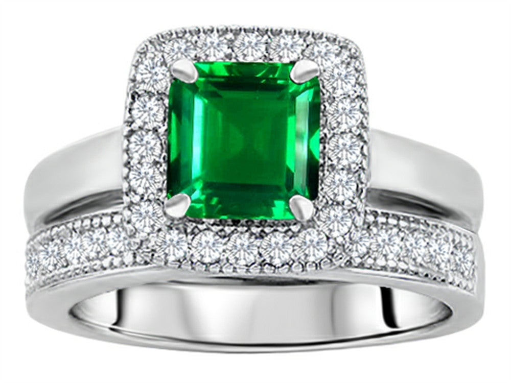 Star K 6mm Square Cut Simulated Emerald Wedding Set Sterling Silver Size 8