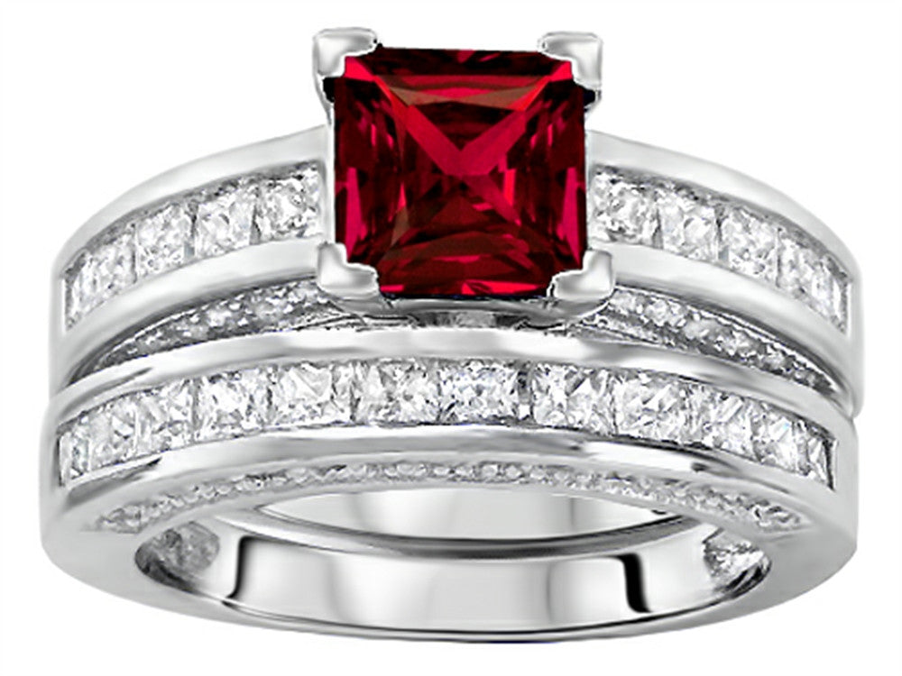 Star K 6mm Square Cut Created Ruby Wedding Set Sterling Silver Size 8