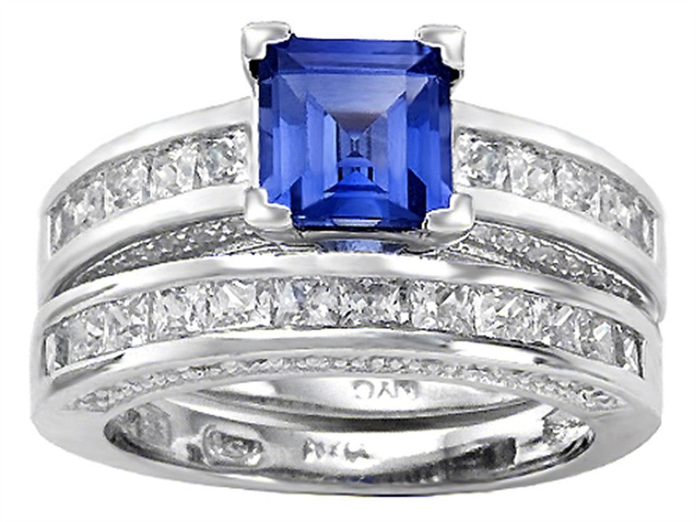 Star K 6mm Square Cut Created Sapphire Wedding Set Sterling Silver Size 8