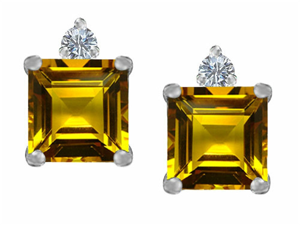 Star K 7mm Square Cut Simulated Citrine Earrings Studs Sterling Silver