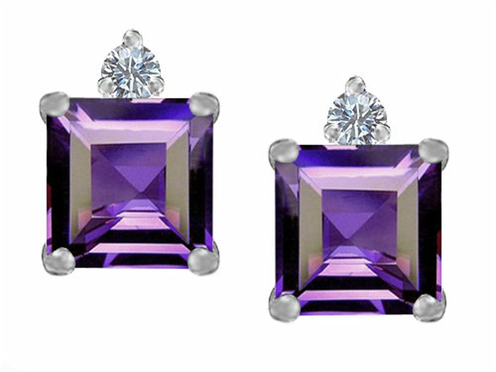 Star K 7mm Square Cut Simulated Alexandrite Earrings Studs Sterling Silver