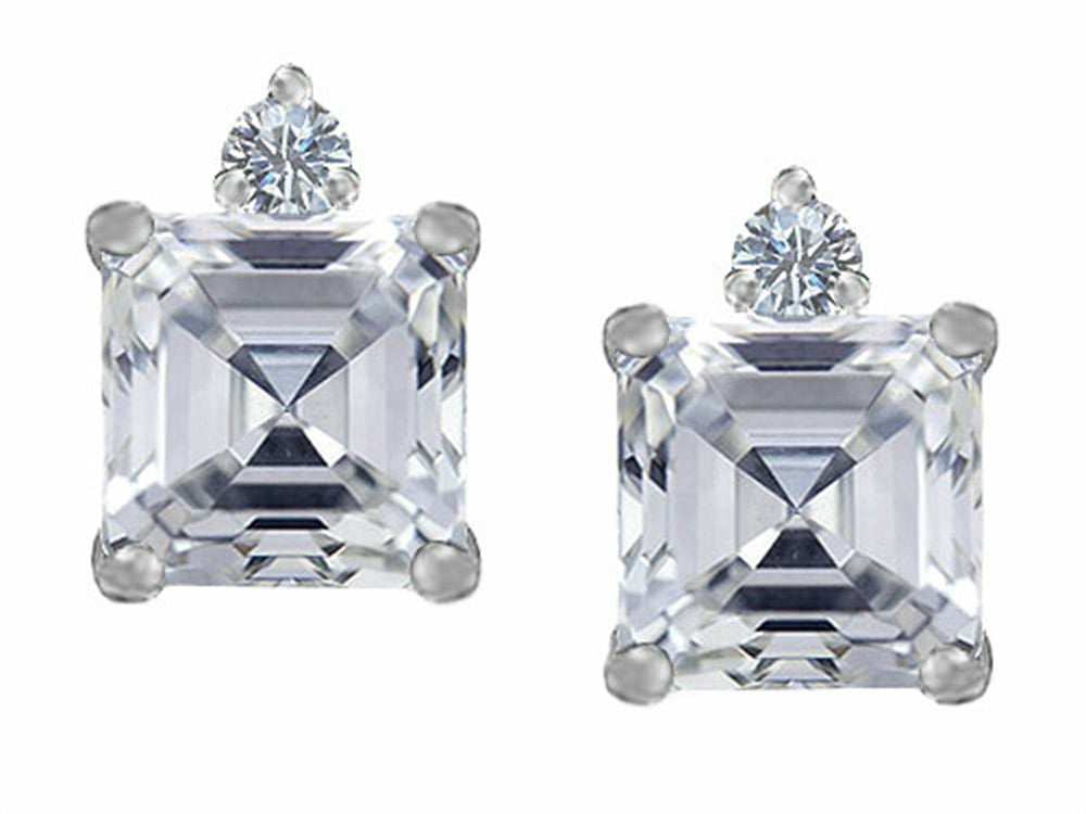 Star K 7mm Square Cut Genuine White Topaz Earrings Studs Sterling Silver