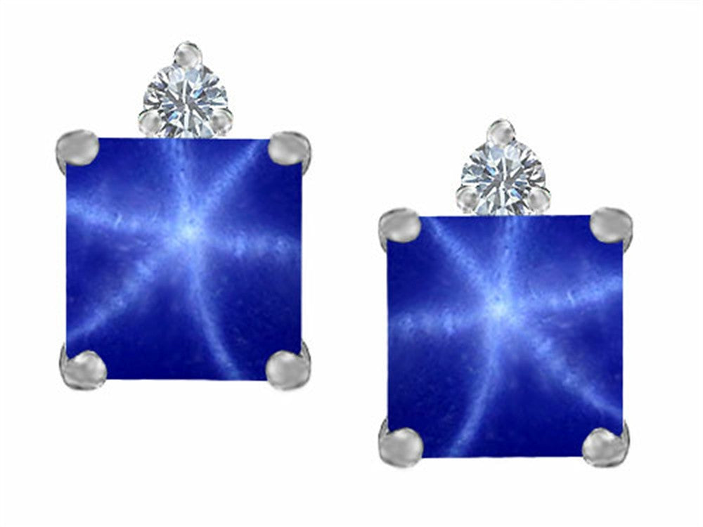 Star K 7mm Square Cut Created Star Sapphire Earrings Studs Sterling Silver