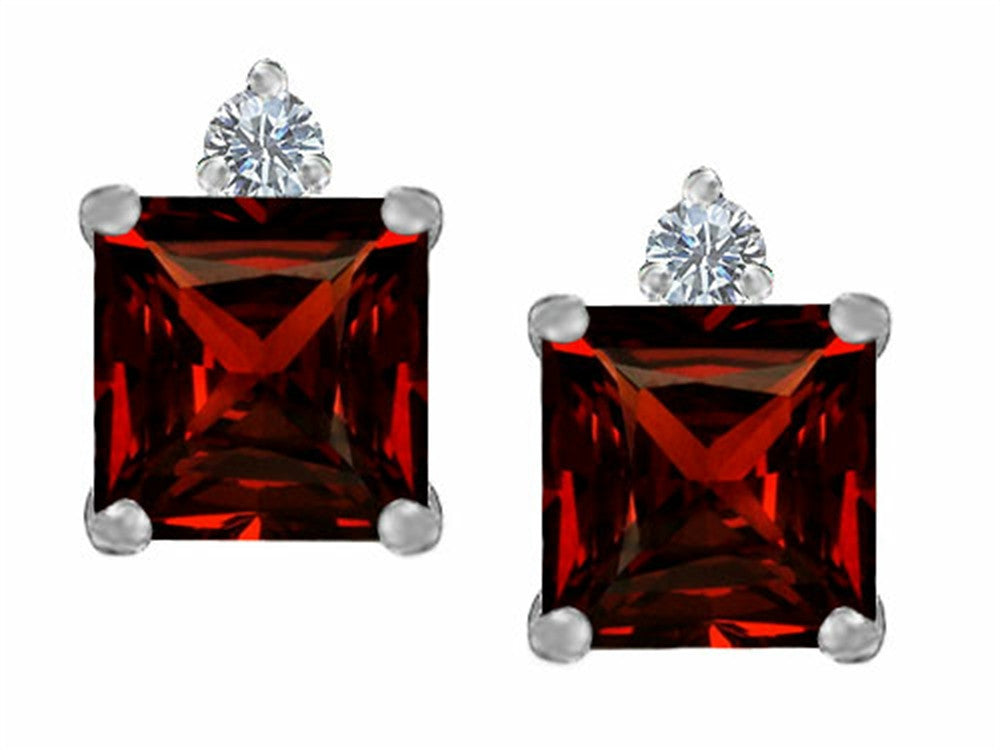 Star K 7mm Square Cut Simulated Garnet Earrings Studs Sterling Silver