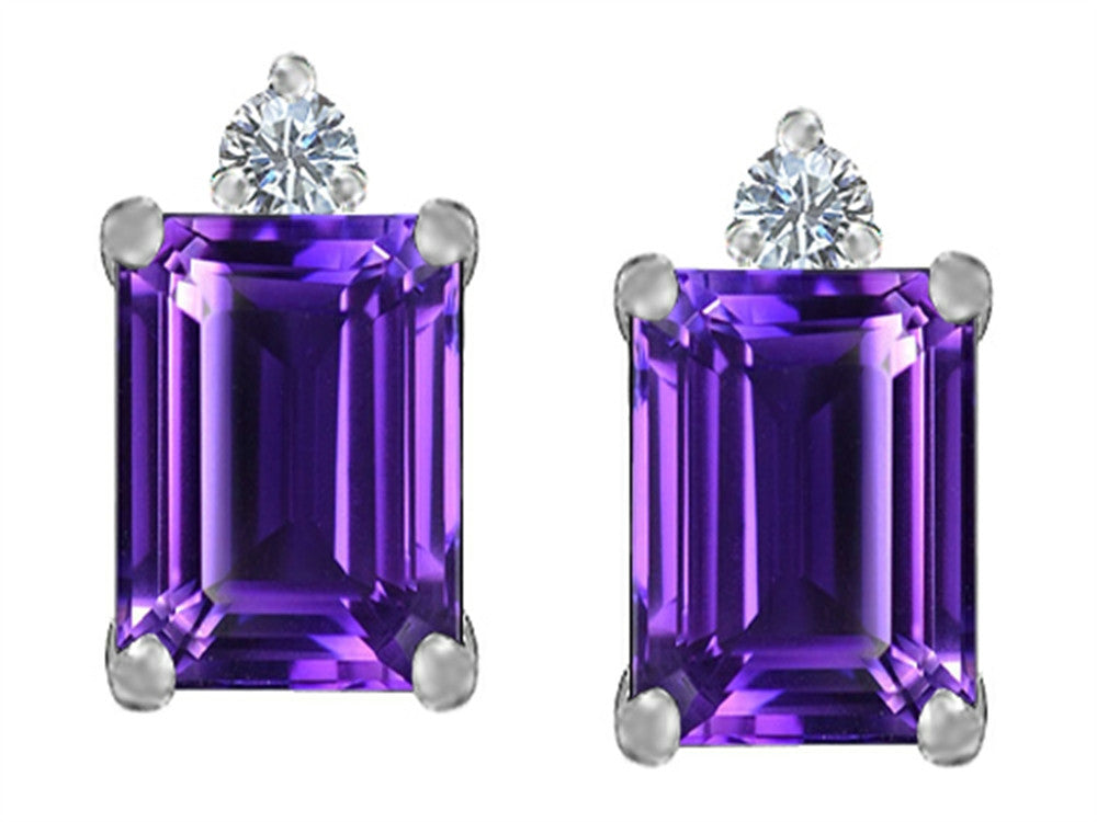 Star K 8x6mm Emerald Octagon Cut Simulated Amethyst Earrings Studs Sterling Silver