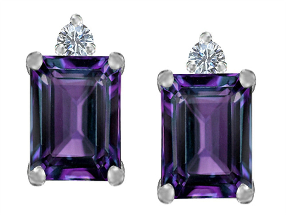 Star K 8x6mm Emerald Octagon Cut Simulated Alexandrite Earrings Studs Sterling Silver