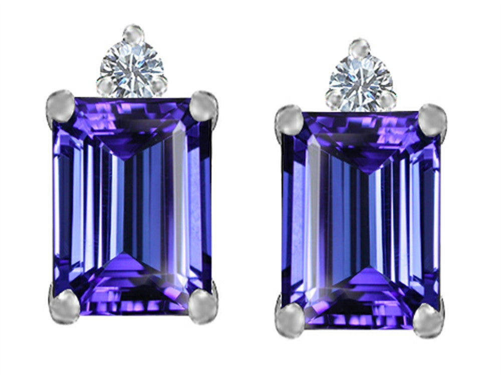 Star K 8x6mm Emerald Octagon Cut Simulated Tanzanite Earrings Studs Sterling Silver