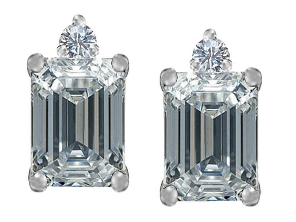 Star K 8x6mm Emerald Octagon Cut Genuine White Topaz Earrings Studs Sterling Silver