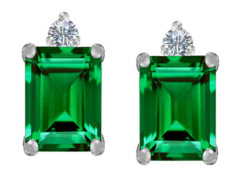Star K 8x6mm Emerald Octagon Cut Simulated Emerald Earrings Studs Sterling Silver