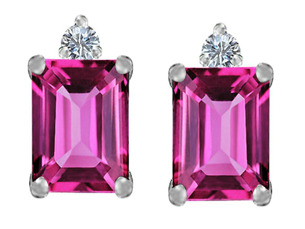 Star K 8x6mm Emerald Octagon Cut Created Pink Sapphire Earrings Studs Sterling Silver