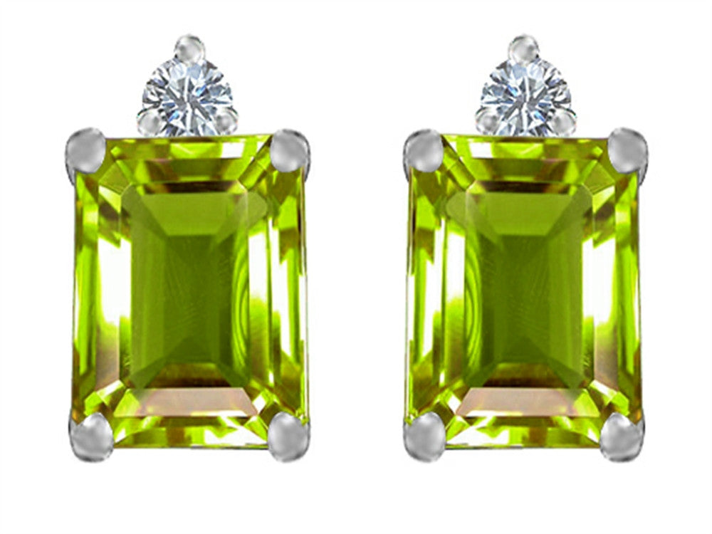 Star K 8x6mm Emerald Octagon Cut Simulated Peridot and Cubic Zirconia Earrings Studs Sterling Silver