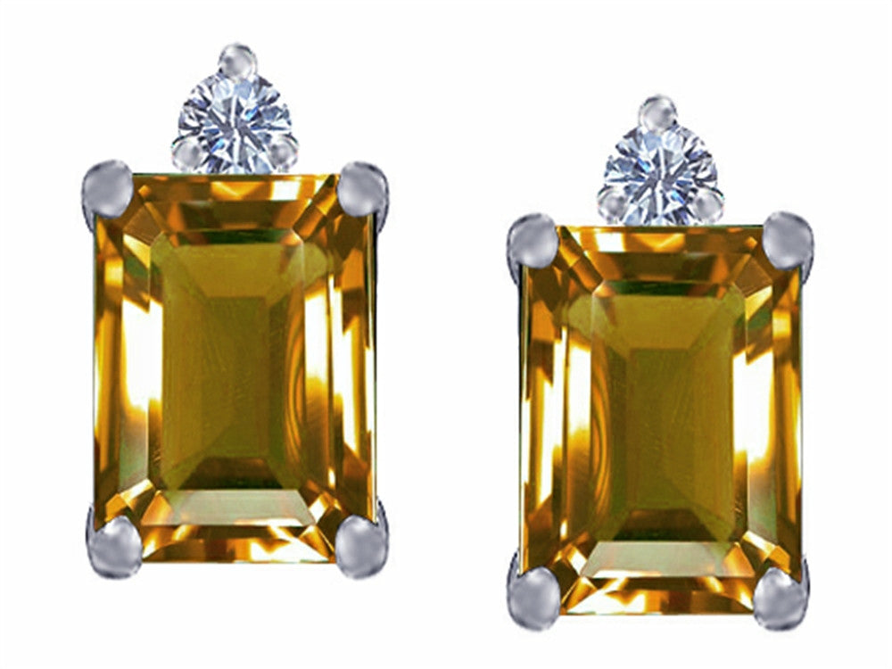 Star K 8x6mm Emerald Octagon Cut Simulated Imperial Yellow Topaz Earrings Studs Sterling Silver