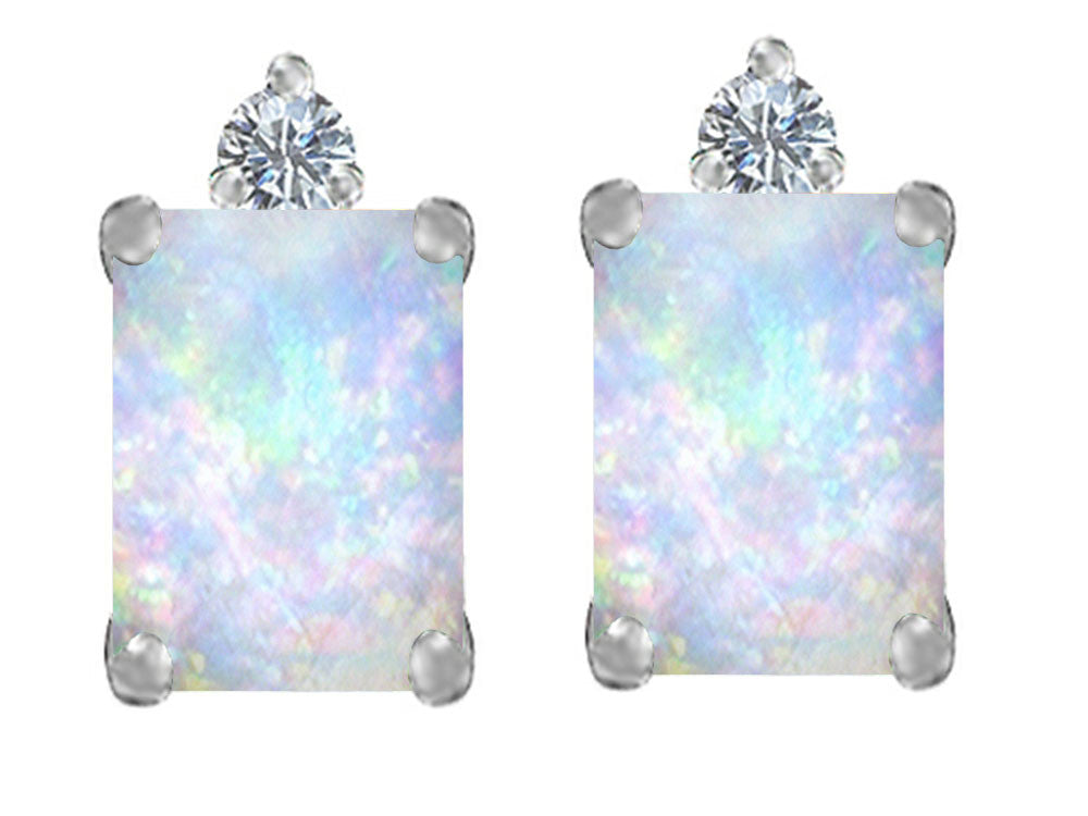 Star K 8x6mm Emerald Octagon Cut Created Opal and Cubic Zirconia Earrings Studs Sterling Silver