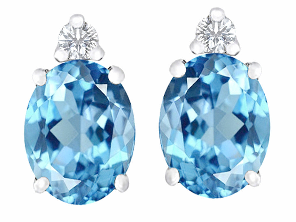 Star K 8x6mm Oval Simulated Blue-Topaz Earrings Studs Sterling Silver