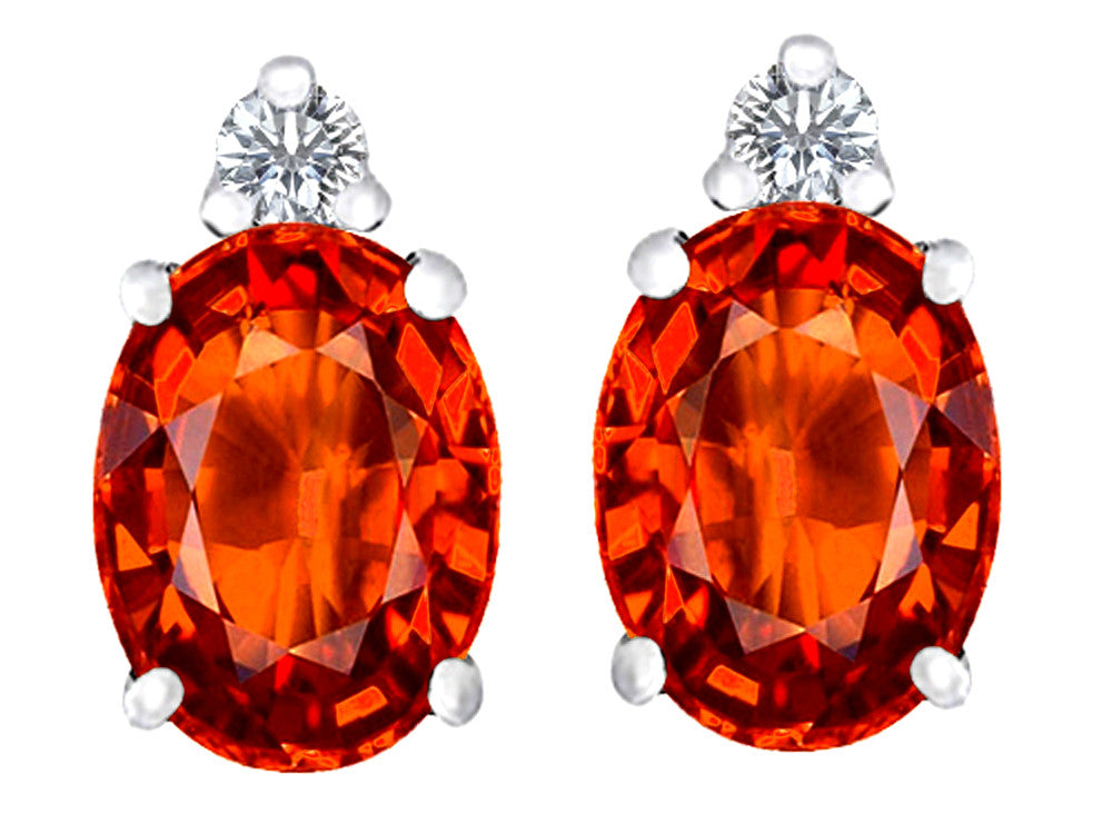 Star K 8x6mm Oval Simulated Orange Mexican Fire Opal Earrings Studs Sterling Silver