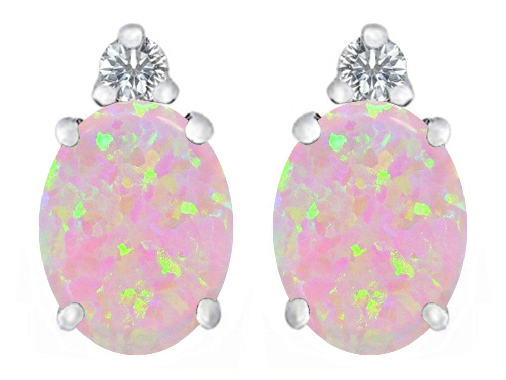 Star K 8x6mm Oval Pink Created Opal Earrings Studs Sterling Silver