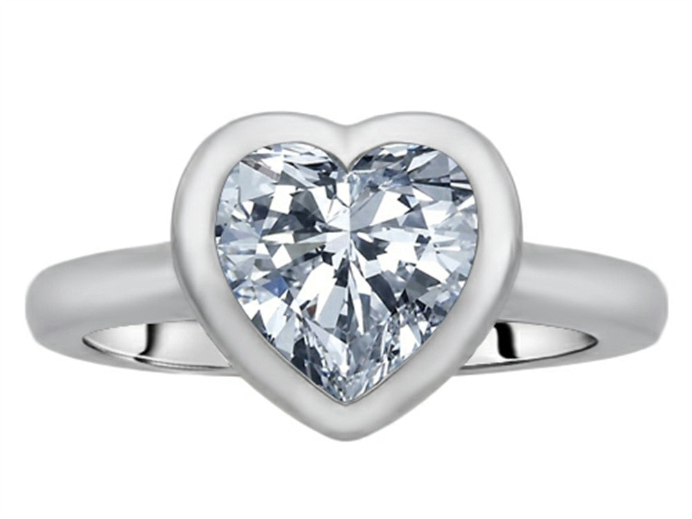 Star K 8mm Heart-Shape Solitaire Ring with Genuine White Topaz Sterling Silver Size 8