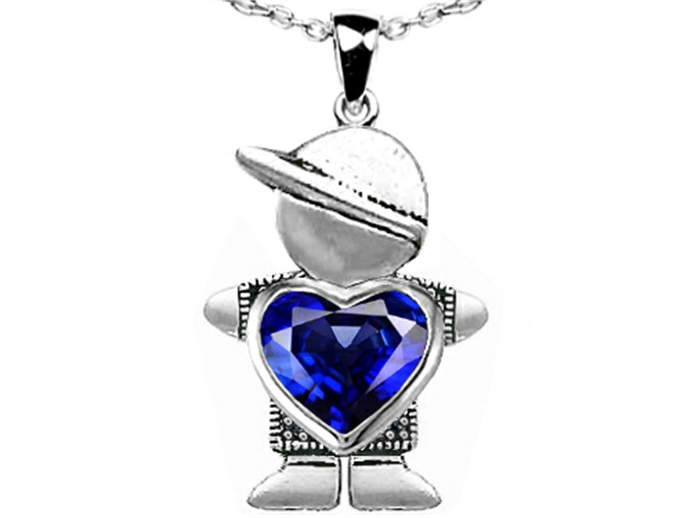 Star K Boy Holding 8mm Mother Heart September Birth Month Pendant Necklace with Created Sapphire Sterling Silver