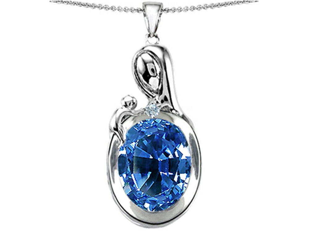Star K Loving Mother with Child Family Pendant Necklace with Oval Simulated Aquamarine Sterling Silver