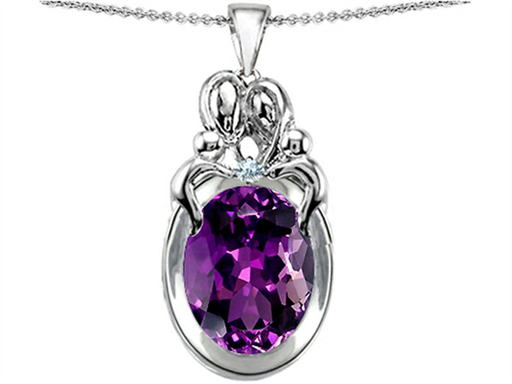 Star K Loving Mother Twin Family Pendant Necklace with Oval Simulated Amethyst Sterling Silver