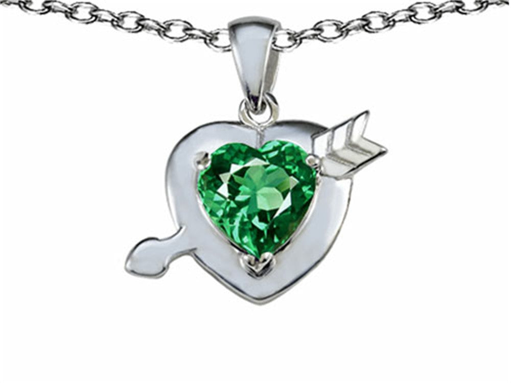 Star K Heart with Arrow Love Pendant Necklace with Simulated Emerald Sterling Silver