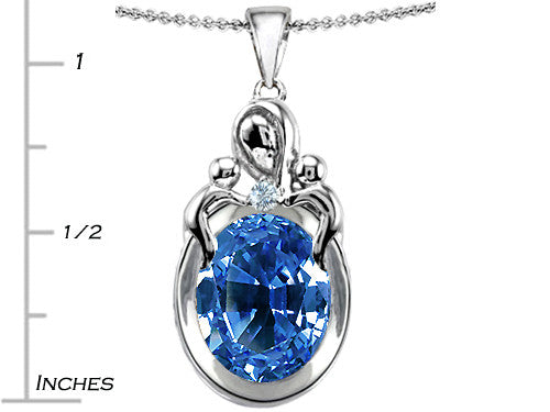 Star K Loving Mother with Twin Children Pendant Necklace with Oval Simulated Aquamarine Sterling Silver