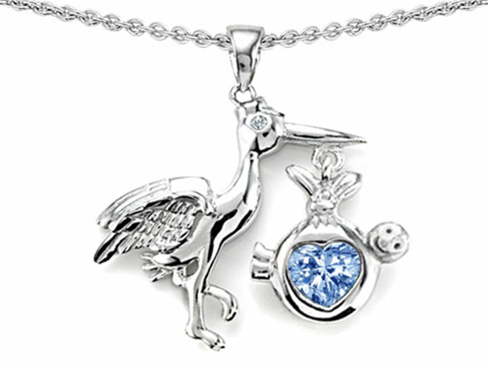Star K Baby Stork Mother Pendant Necklace with 8mm Heart-Shape Simulated Aquamarine Sterling Silver