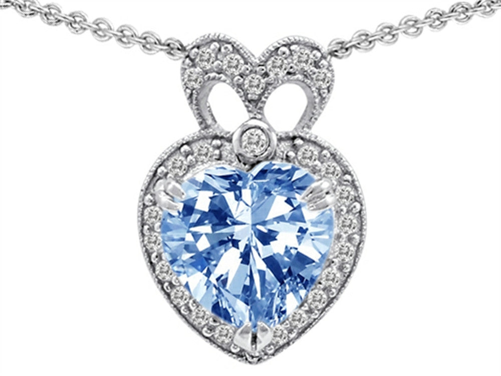 Star K Heart Shape Simulated Aquamarine Pendant Necklace Sterling Silver